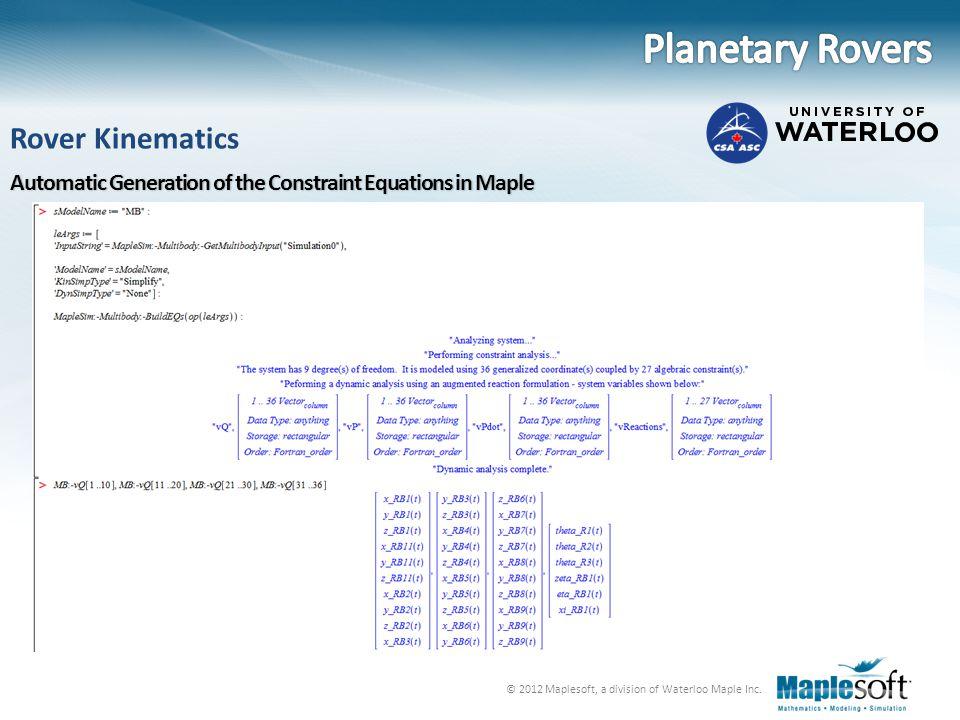 Planetary Rovers Rover Kinematics
