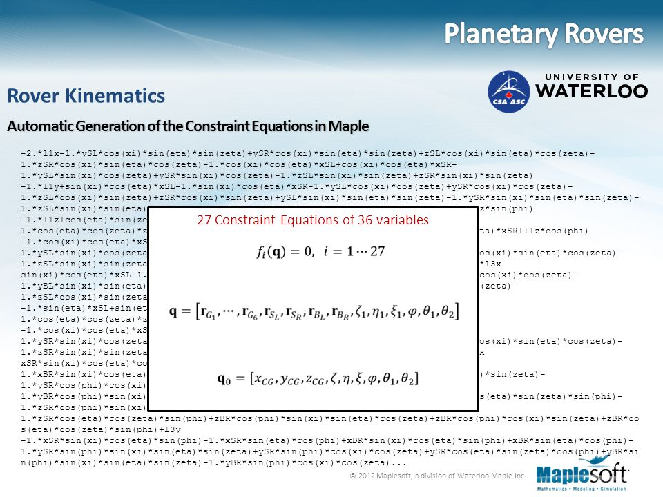 27 Constraint Equations of 36 variables