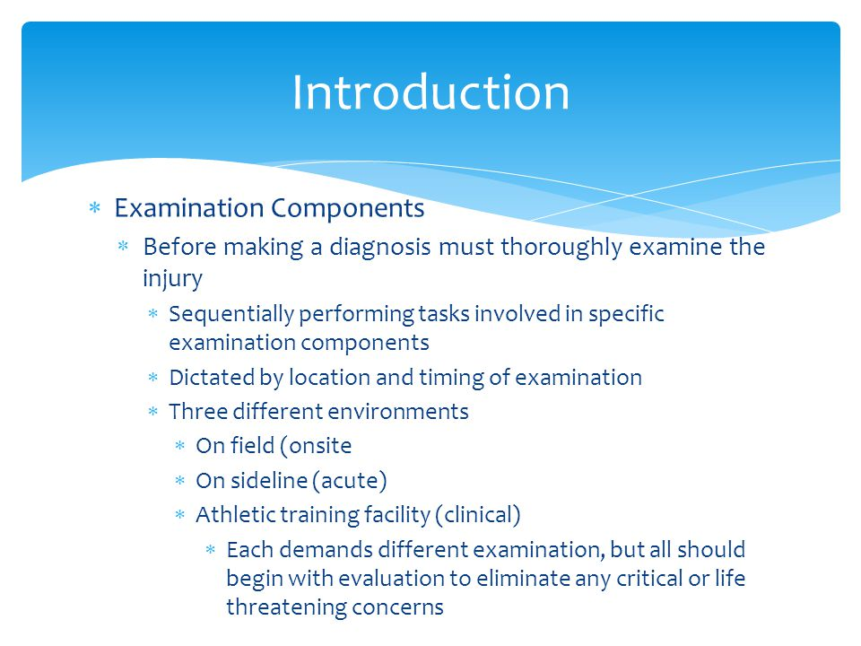 Introduction Examination Components