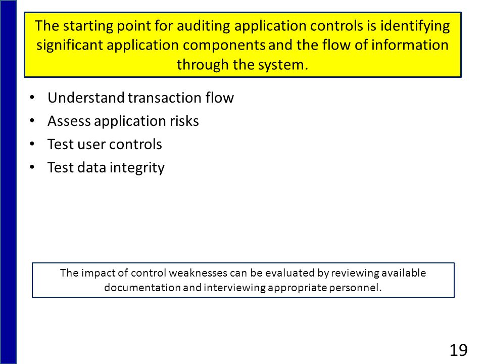 The starting point for auditing application controls is identifying significant application components and the flow of information through the system.