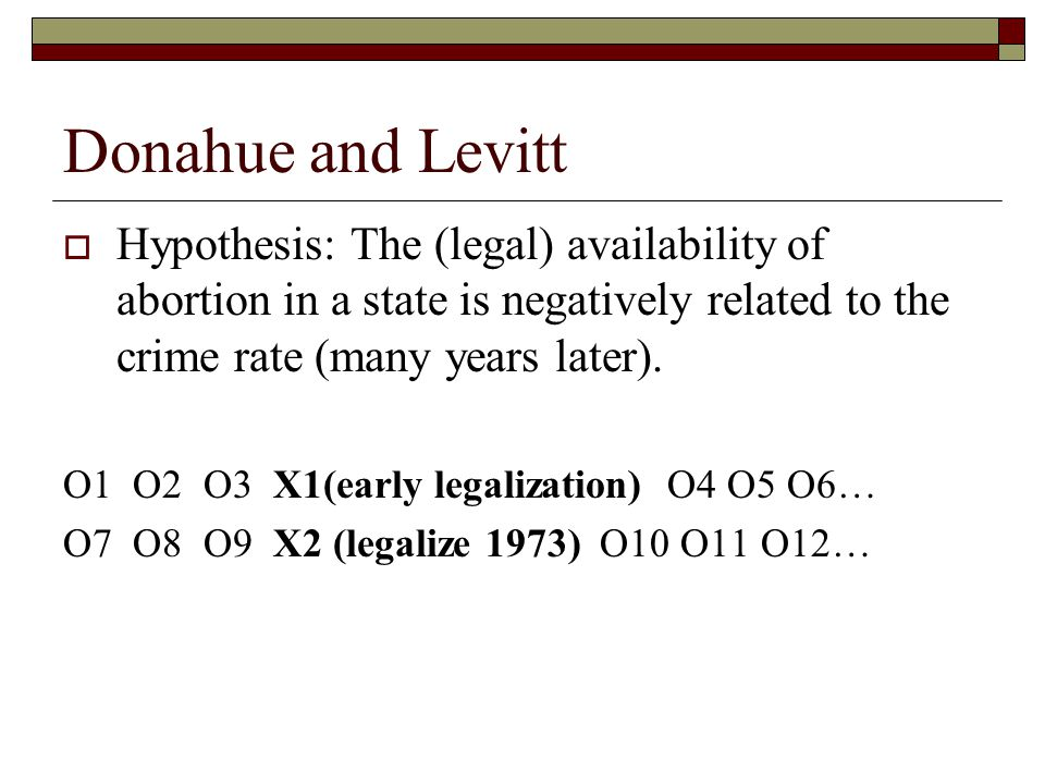 Donahue and Levitt Hypothesis: The (legal) availability of abortion in a state is negatively related to the crime rate (many years later).