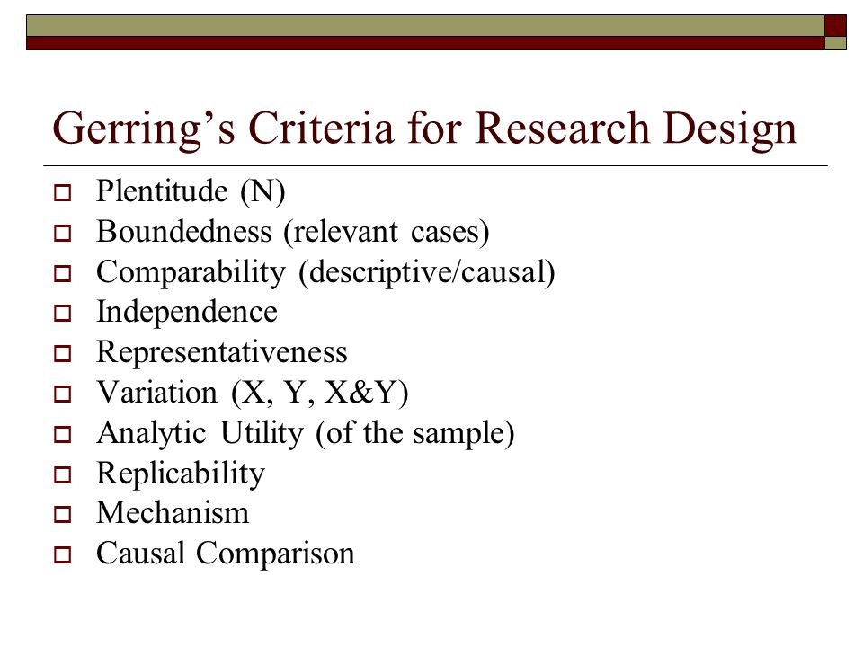 Gerring's Criteria for Research Design