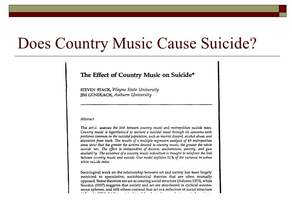Does Country Music Cause Suicide