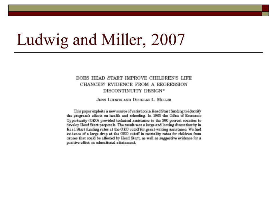 Ludwig and Miller, 2007
