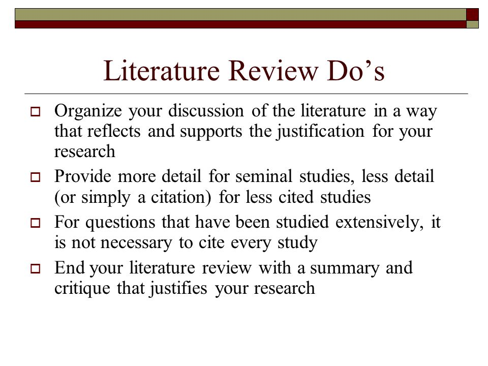 Literature Review Do's