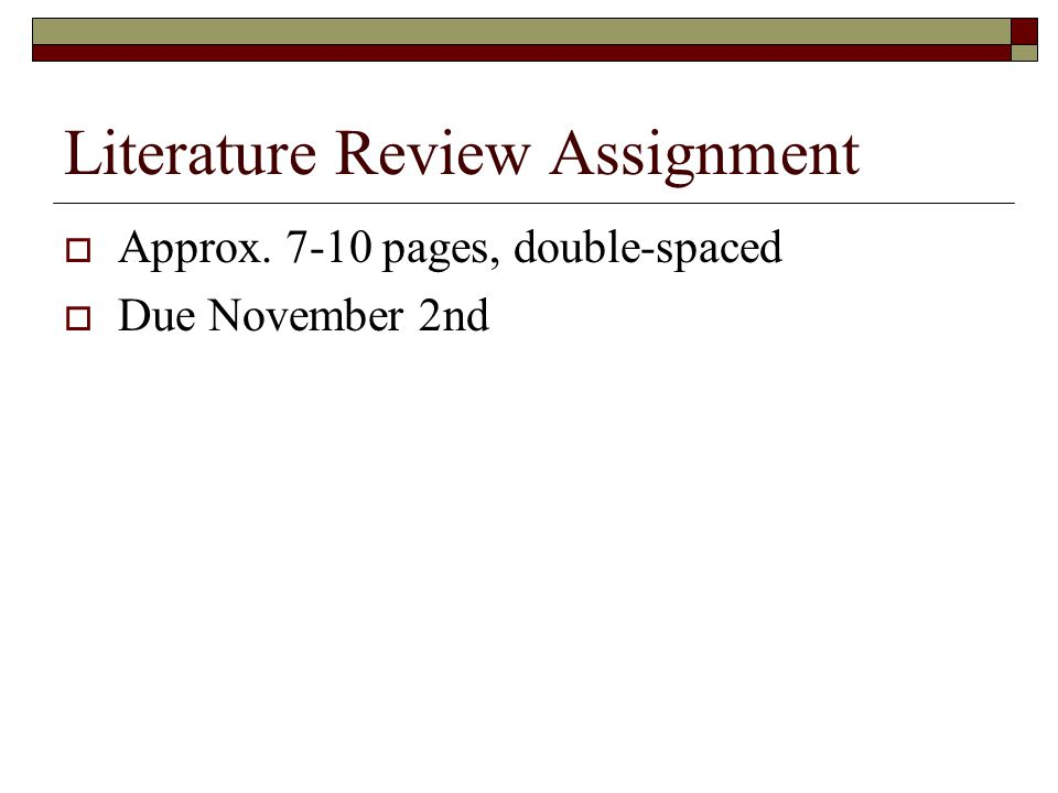 Literature Review Assignment