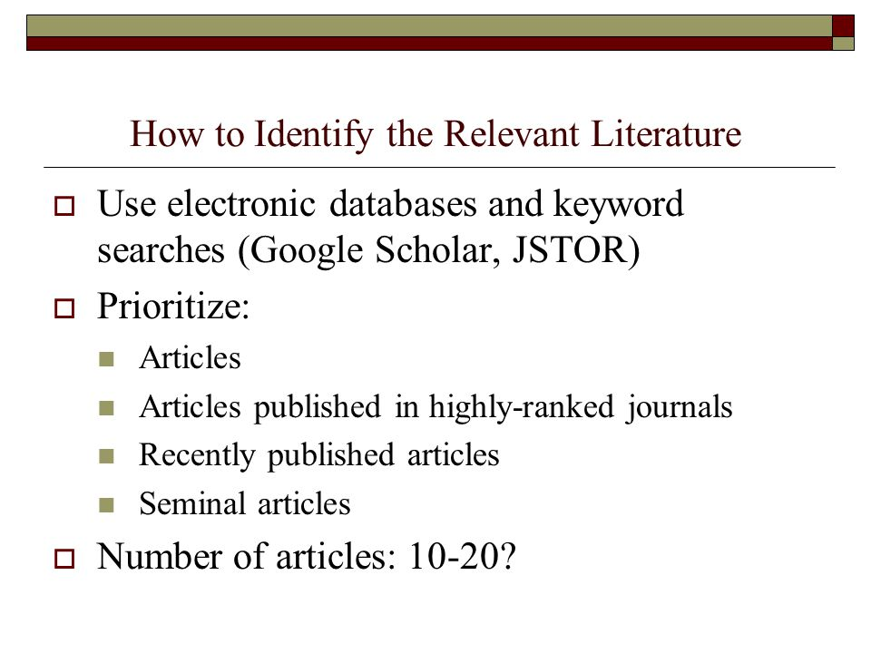 How to Identify the Relevant Literature