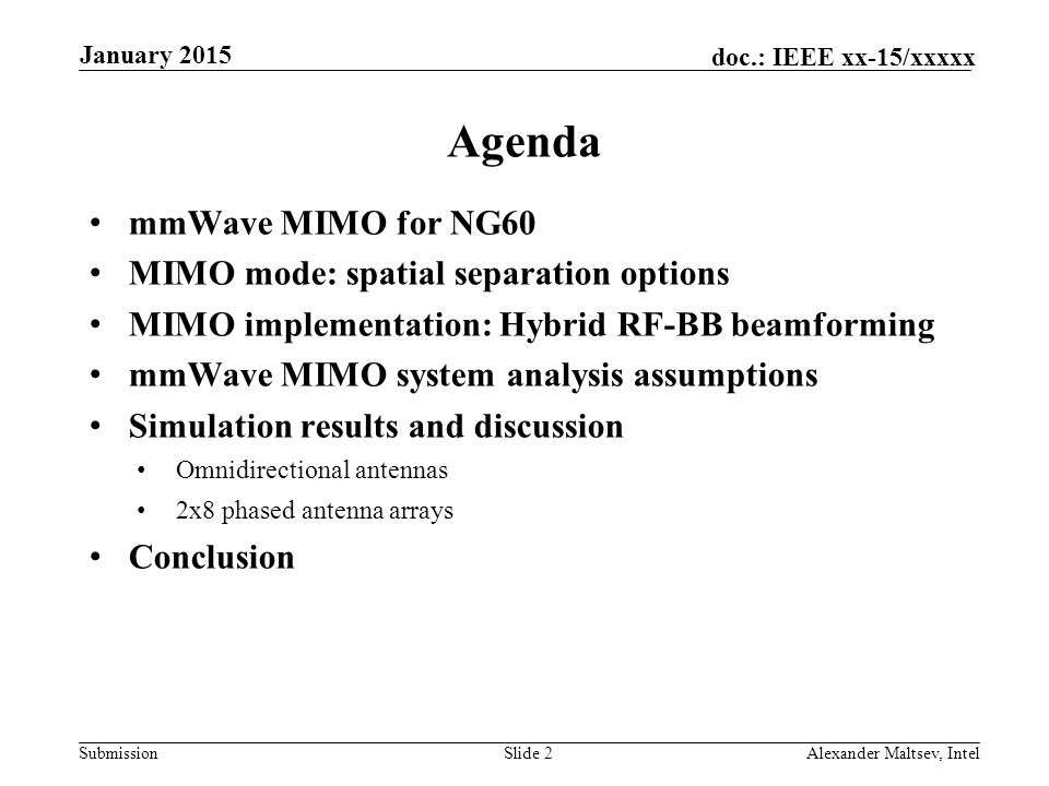 Agenda mmWave MIMO for NG60 MIMO mode: spatial separation options
