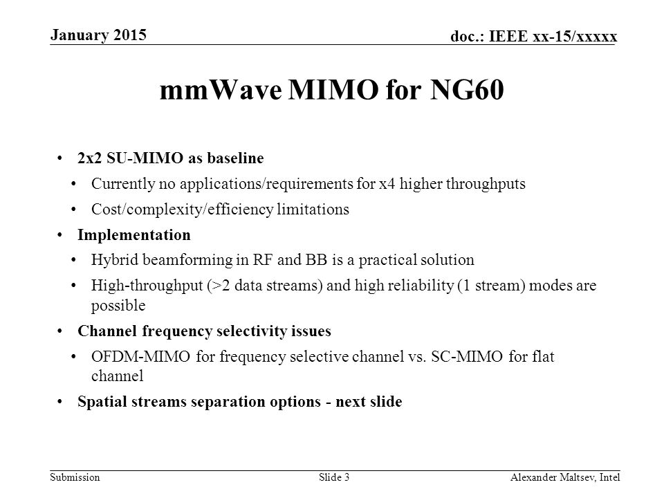 mmWave MIMO for NG60 January 2015 2x2 SU-MIMO as baseline