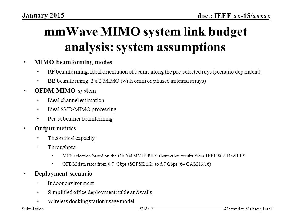 mmWave MIMO system link budget analysis: system assumptions