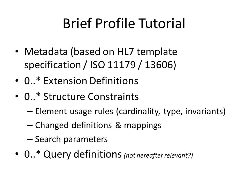Brief Profile Tutorial