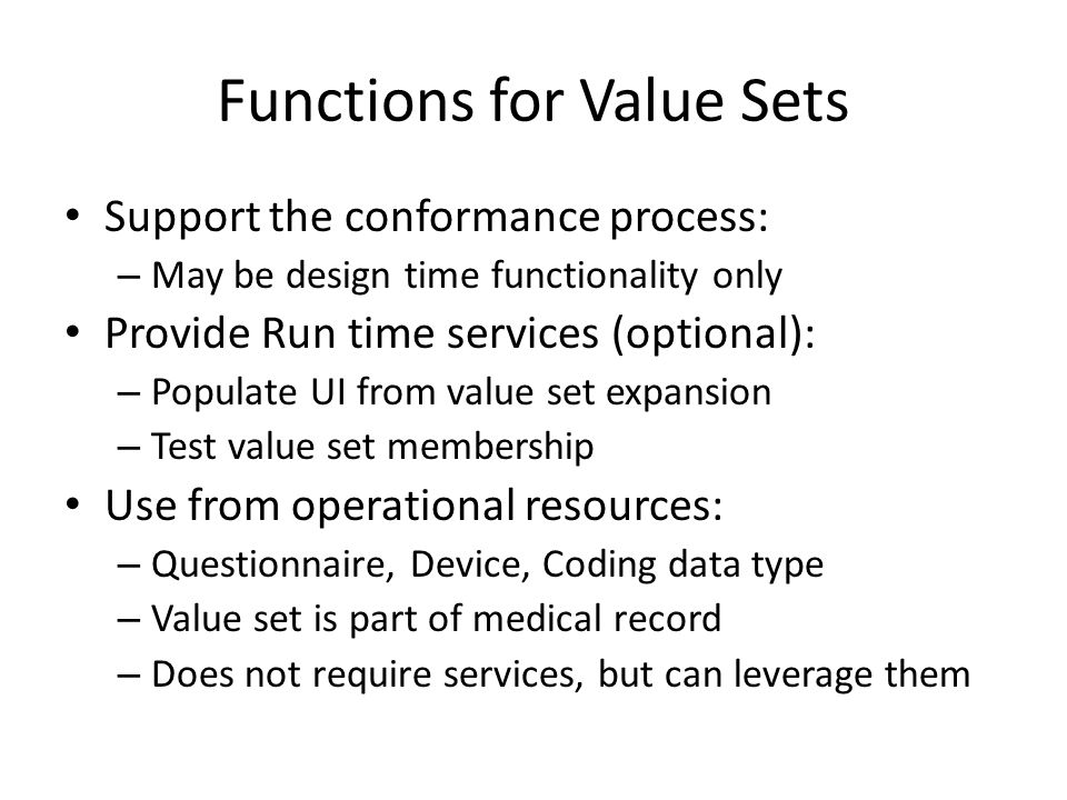 Functions for Value Sets