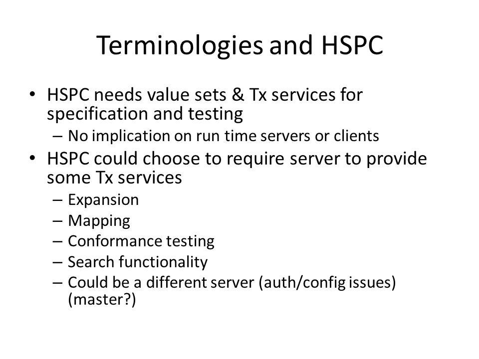 Terminologies and HSPC