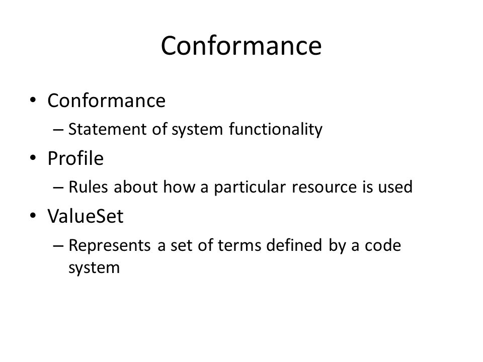 Conformance Conformance Profile ValueSet