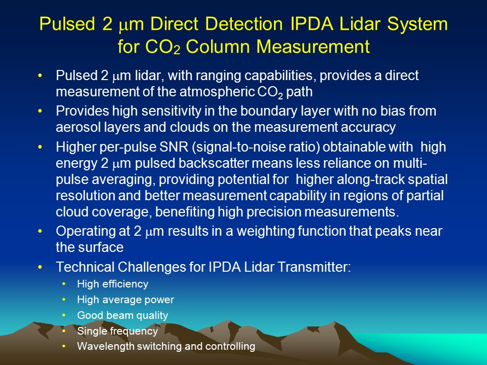 Pulsed 2 mm Direct Detection IPDA Lidar System for CO2 Column Measurement