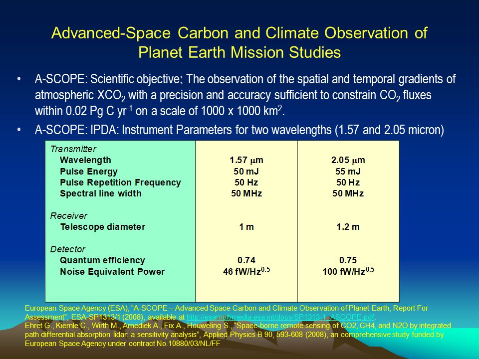 Advanced-Space Carbon and Climate Observation of Planet Earth Mission Studies