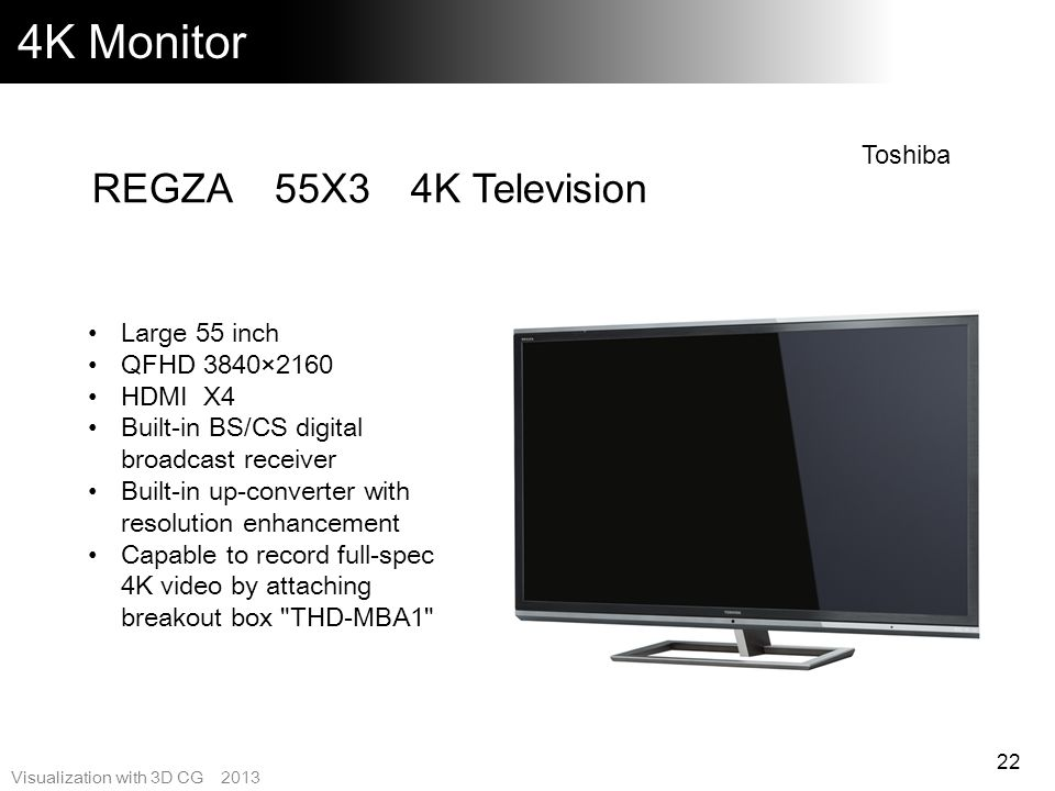 4K Monitor REGZA 55X3 4K Television Toshiba Large 55 inch