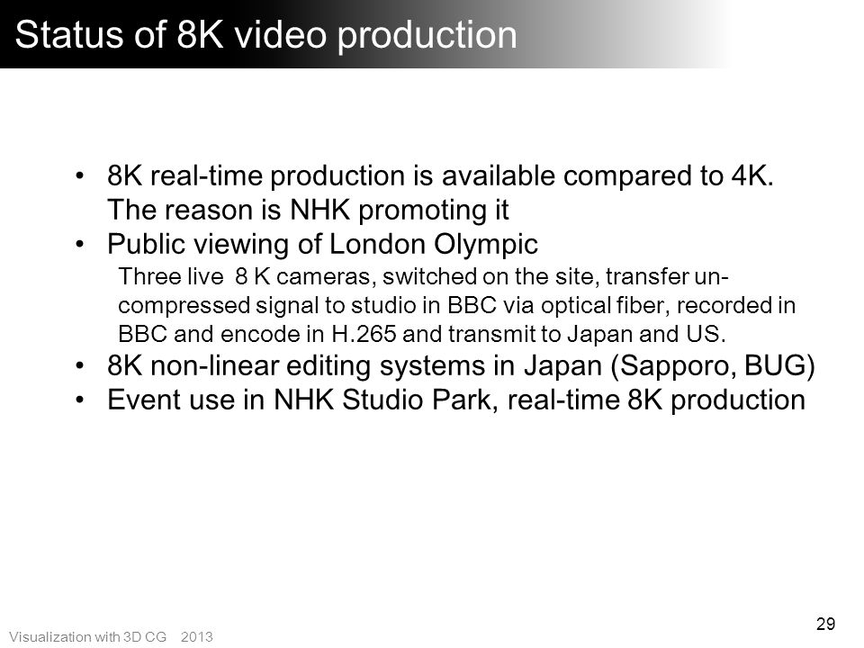 Status of 8K video production