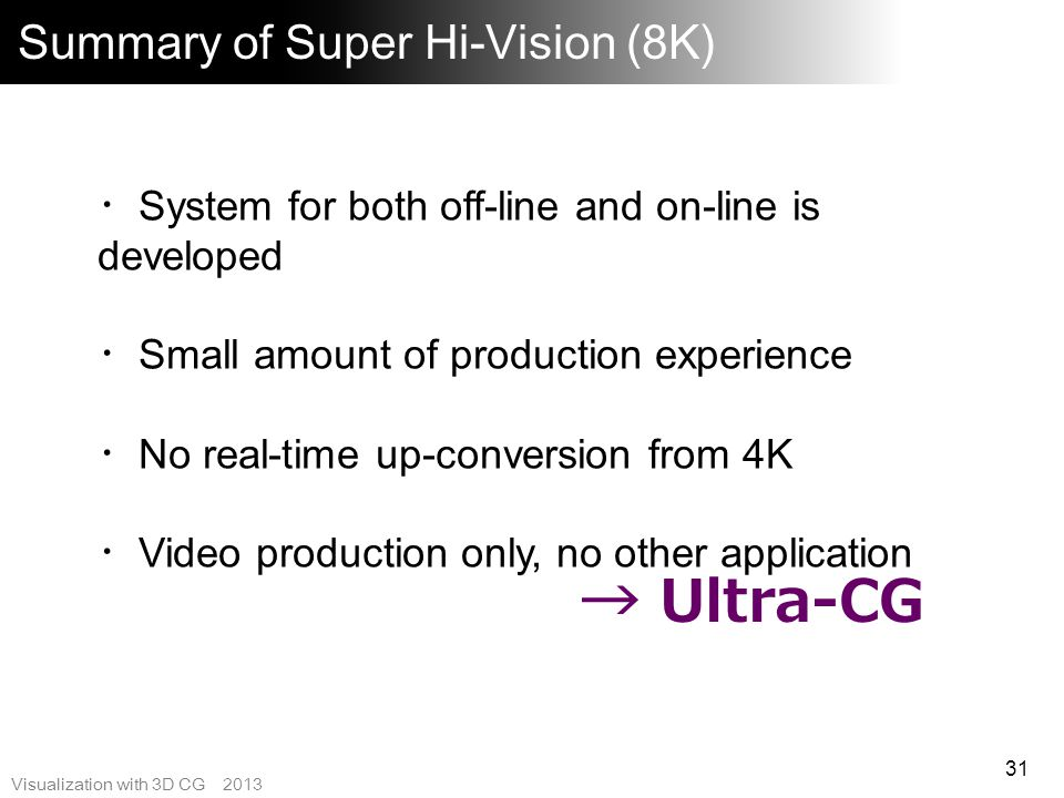 Summary of Super Hi-Vision (8K)
