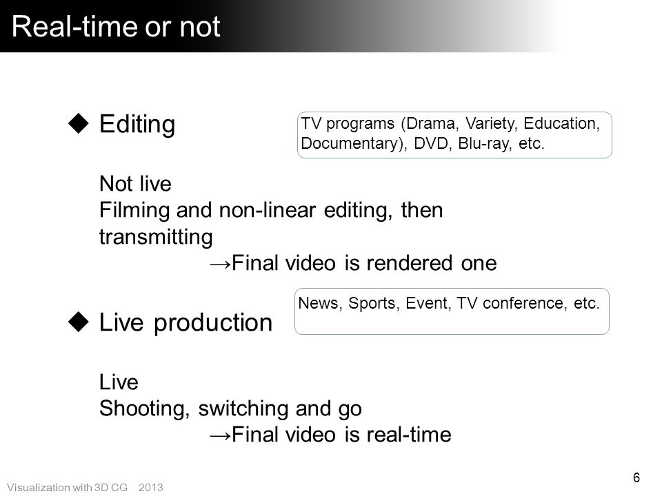 Real-time or not Editing Live production Not live