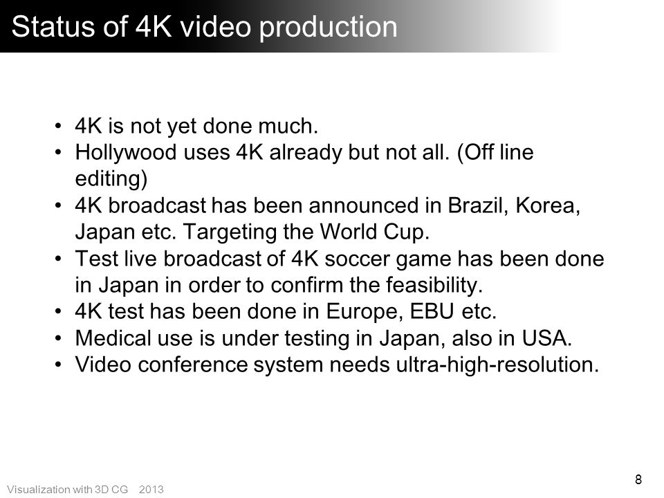 Status of 4K video production