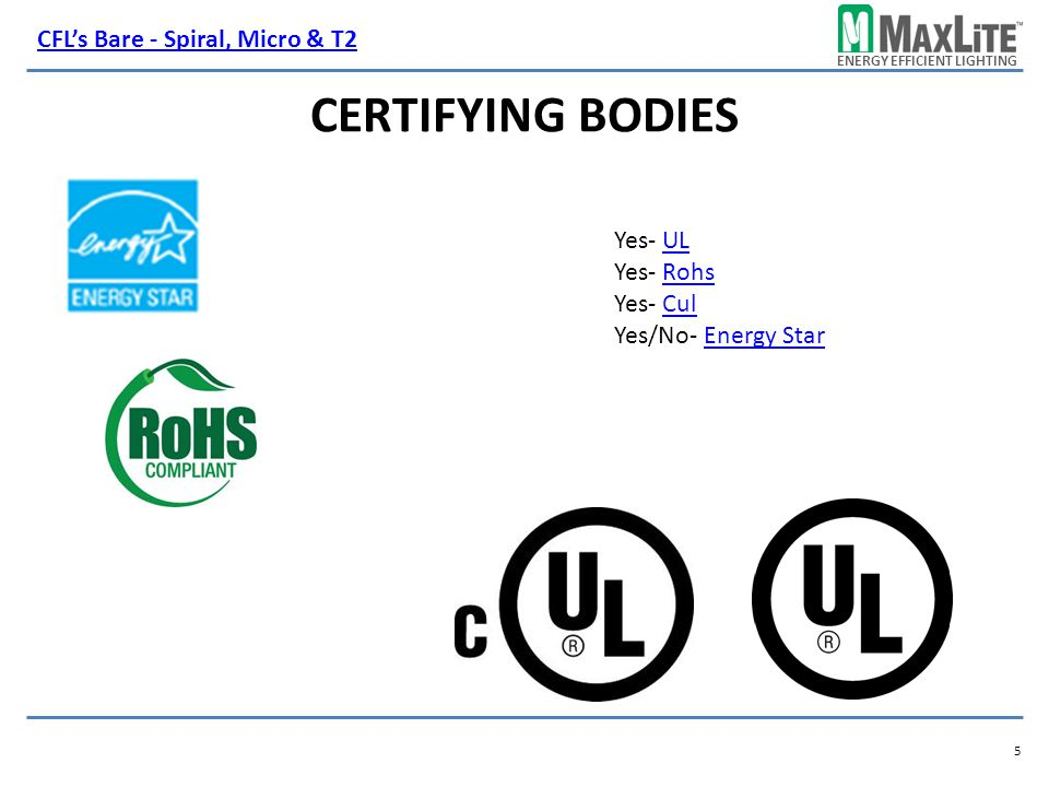 Certifying Bodies CFL's Bare - Spiral, Micro & T2 Yes- UL Yes- Rohs