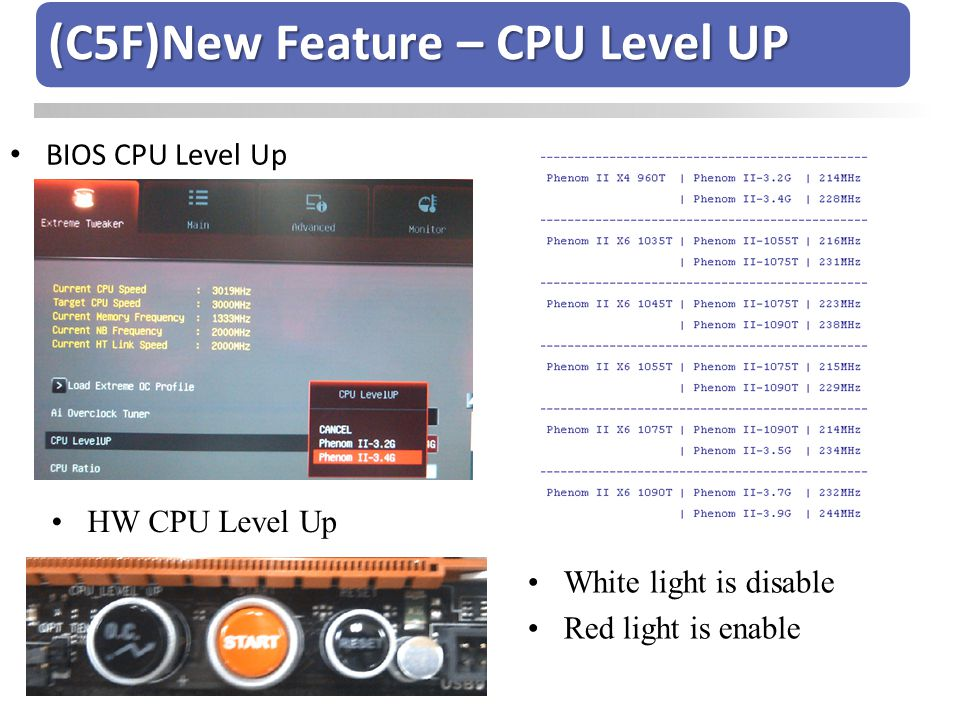 (C5F)New Feature – CPU Level UP
