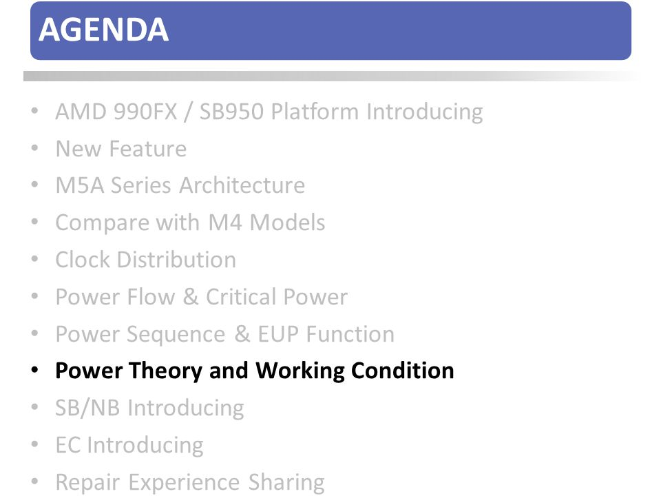 AGENDA AMD 990FX / SB950 Platform Introducing New Feature