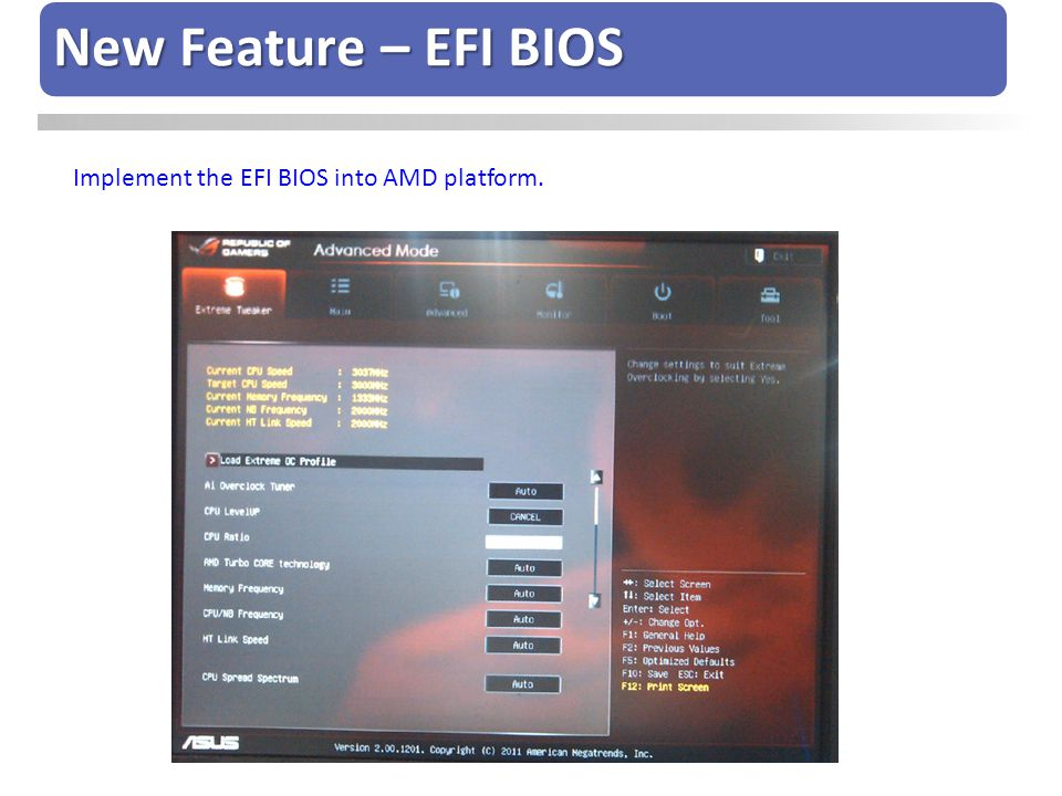 New Feature – EFI BIOS Implement the EFI BIOS into AMD platform.