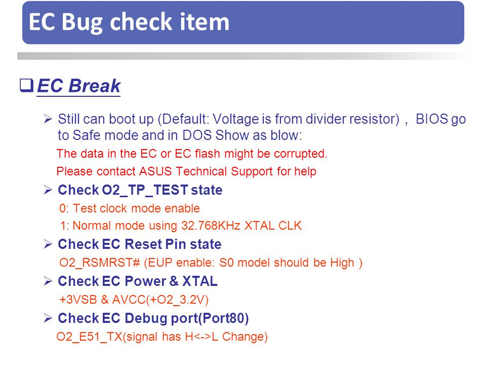 EC Bug check item EC Break
