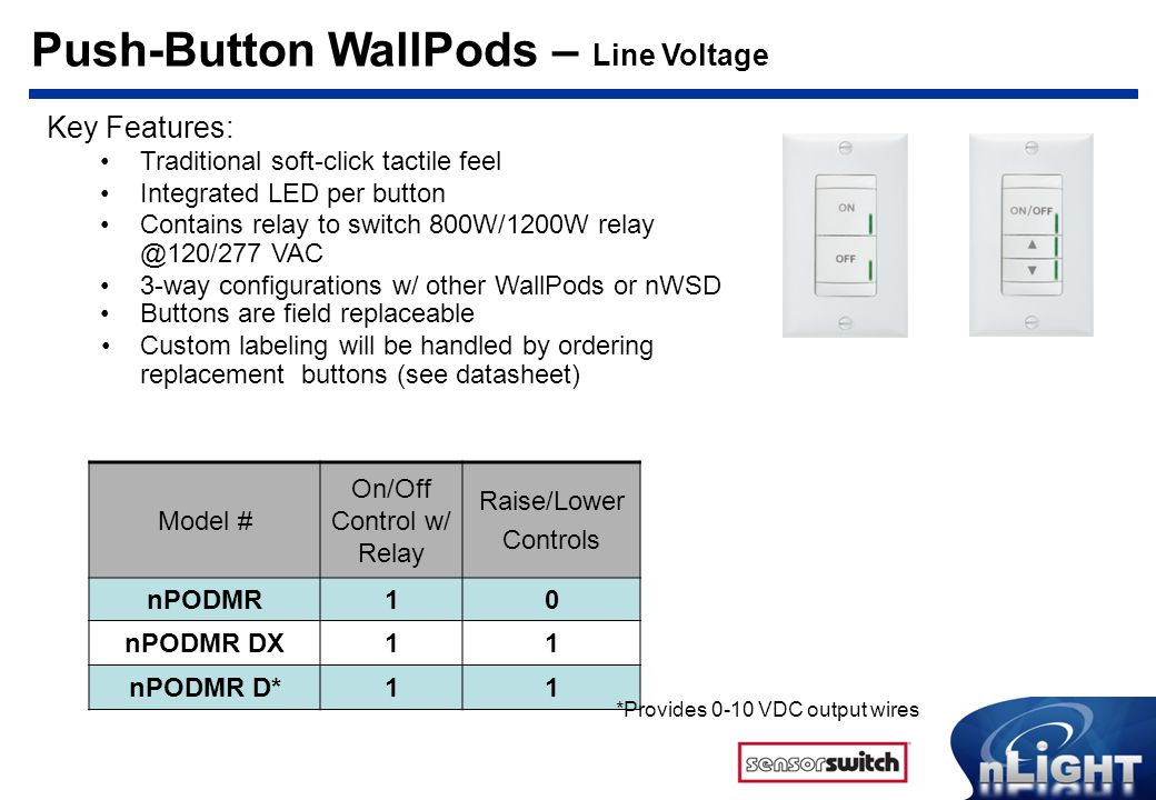 Push-Button WallPods – Line Voltage
