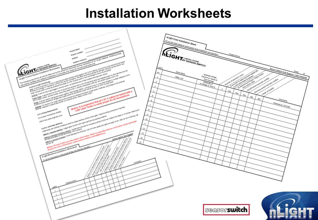 Installation Worksheets