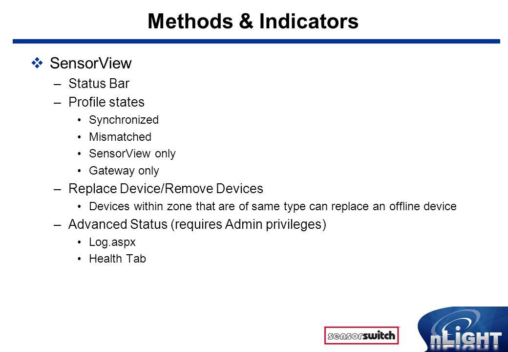 Methods & Indicators SensorView Status Bar Profile states