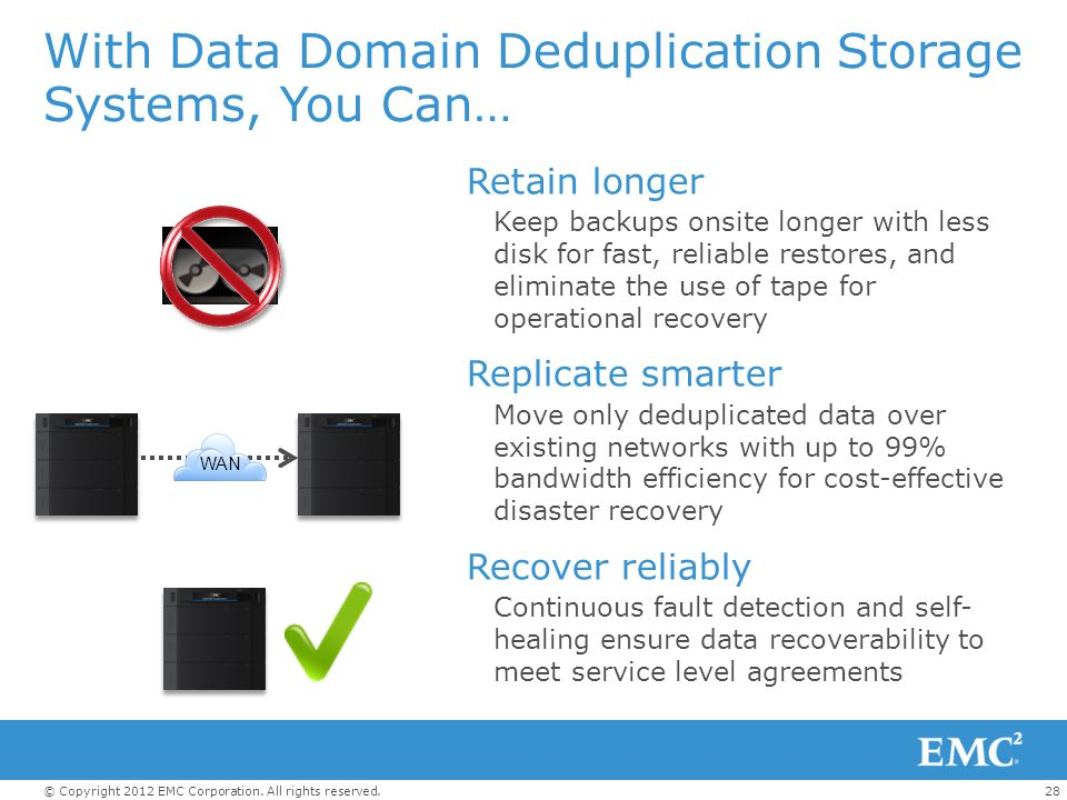 With Data Domain Deduplication Storage Systems, You Can…