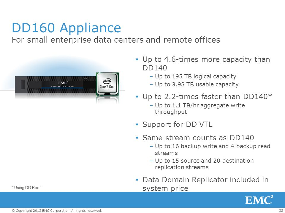 DD160 Appliance For small enterprise data centers and remote offices
