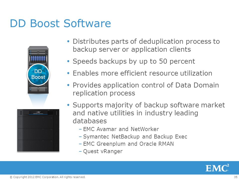 DD Boost Software Distributes parts of deduplication process to backup server or application clients.