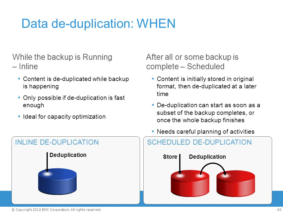 Data de-duplication: WHEN