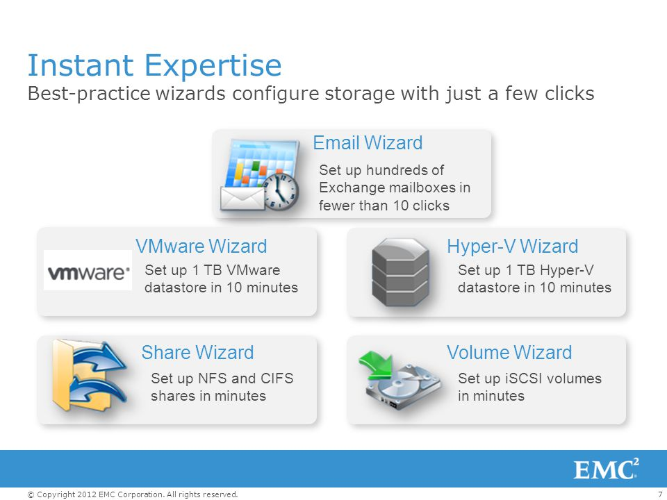 Instant Expertise Best-practice wizards configure storage with just a few clicks. Email Wizard.