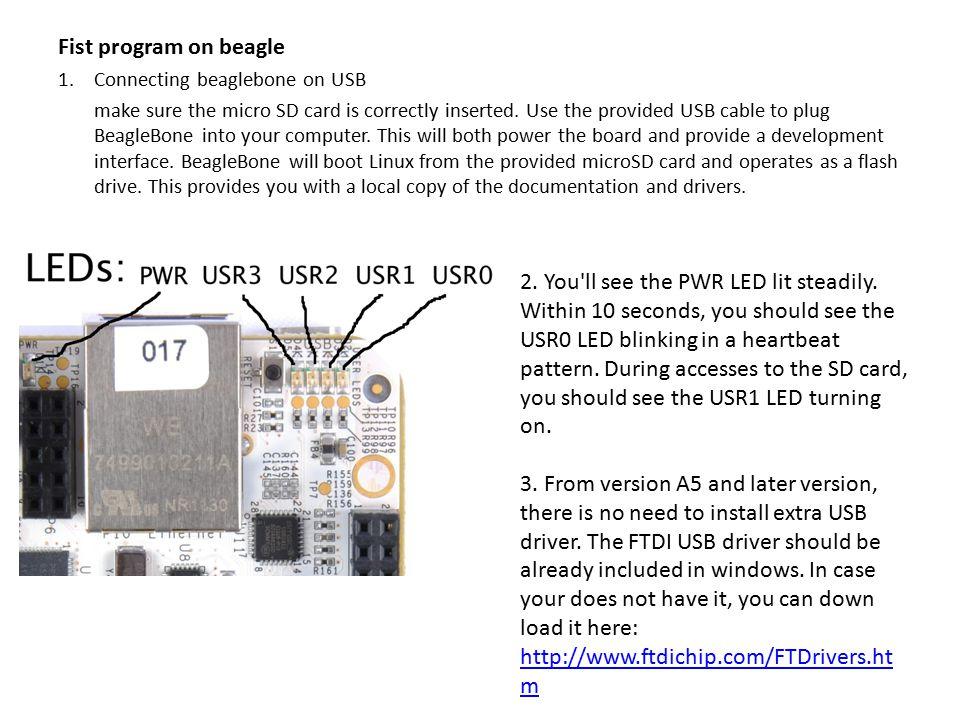 Fist program on beagle Connecting beaglebone on USB.