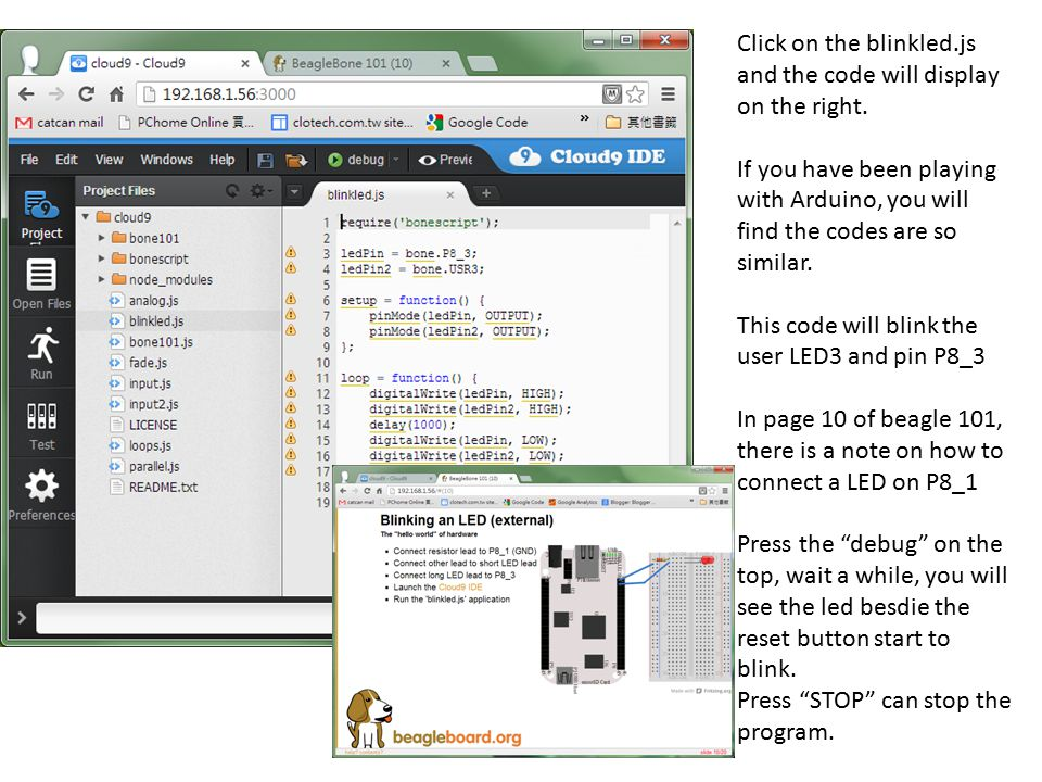 Click on the blinkled.js and the code will display on the right.