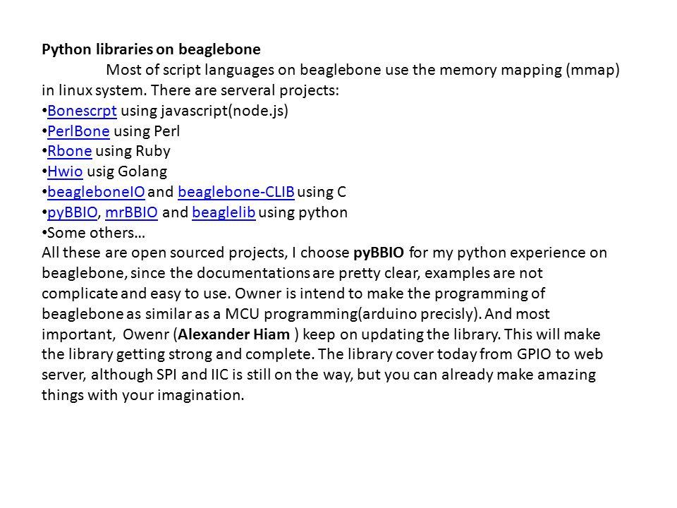 Python libraries on beaglebone