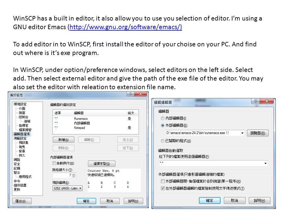 WinSCP has a built in editor, it also allow you to use you selection of editor. I'm using a GNU editor Emacs (http://www.gnu.org/software/emacs/)