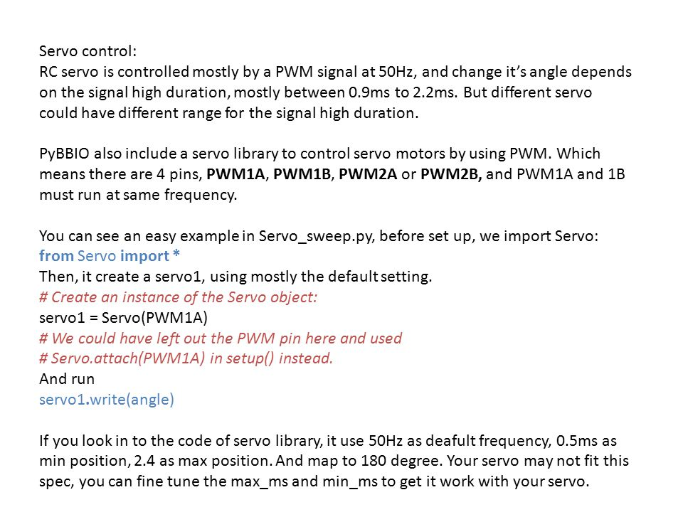 Servo control: