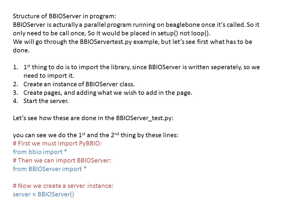 Structure of BBIOServer in program: