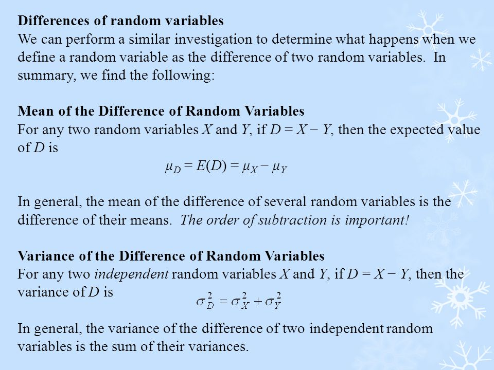 Differences of random variables