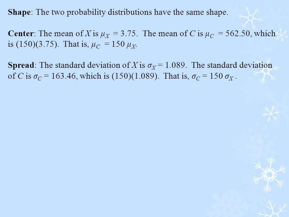 Shape: The two probability distributions have the same shape.