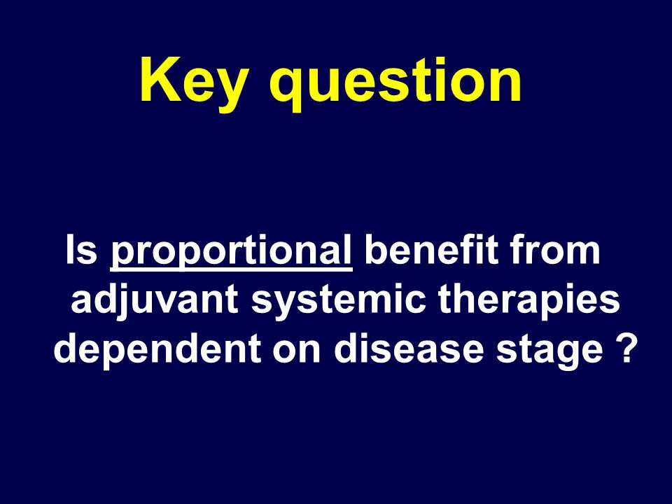 Key question Is proportional benefit from adjuvant systemic therapies dependent on disease stage