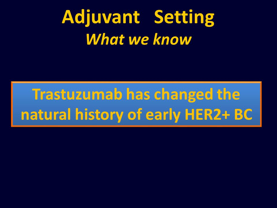 Adjuvant Setting What we know