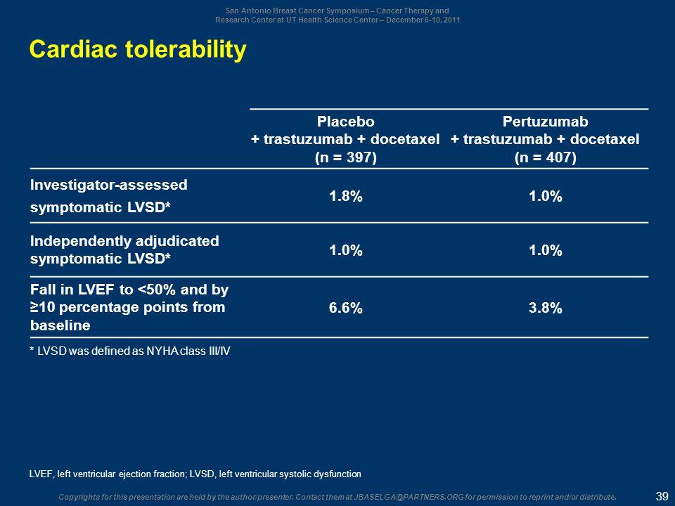 Cardiac tolerability Placebo + trastuzumab + docetaxel (n = 397)