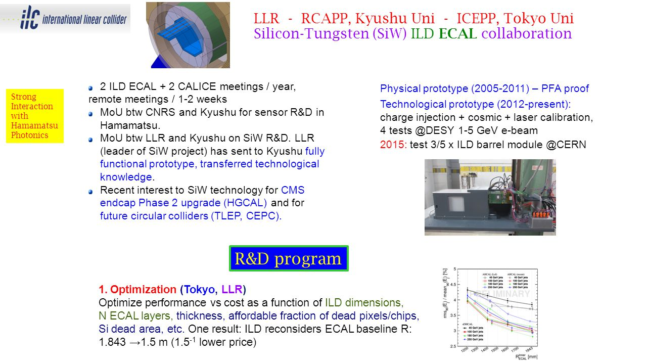 LLR - RCAPP, Kyushu Uni - ICEPP, Tokyo Uni Silicon-Tungsten (SiW) ILD ECAL collaboration